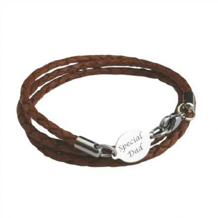 Mans Leather memorial Bracelet with Engraving